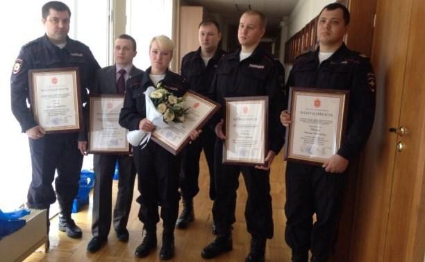 В правительстве Тульской области наградили полицейских, спасших погорельцев в Плеханово