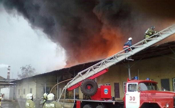 Площадь пожара на узловском хладокомбинате увеличилась до 500 кв. метров