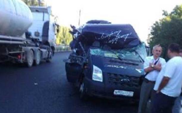 В Заокском районе столкнулись пассажирская маршрутка и грузовик