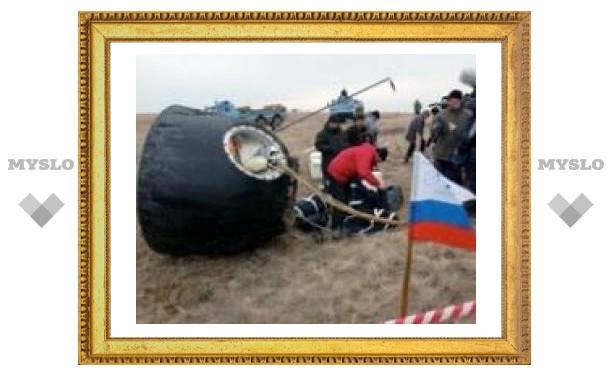 """Космический корабль """"Союз"""" приземлился в Казахстане"""