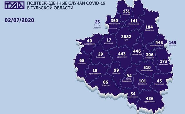 Названы самые зараженные COVID-19 города Тульской области: карта на 2 июля
