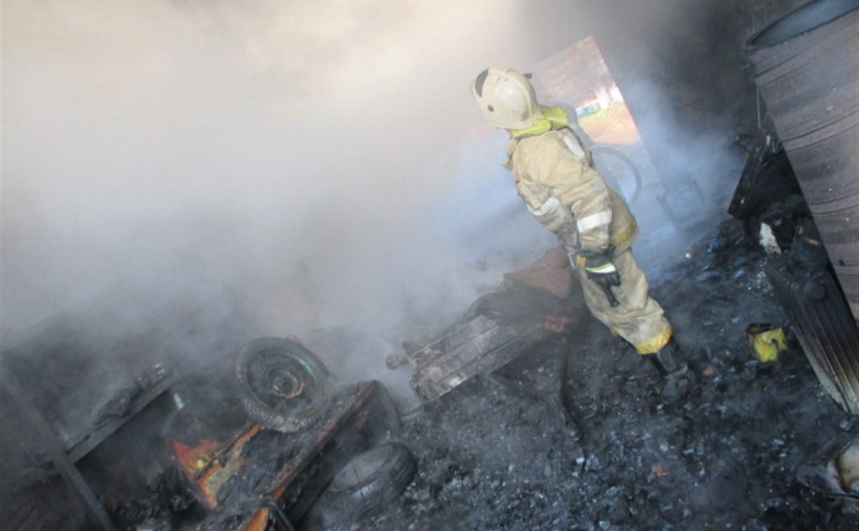В Узловой огонь уничтожил гараж и легковой прицеп