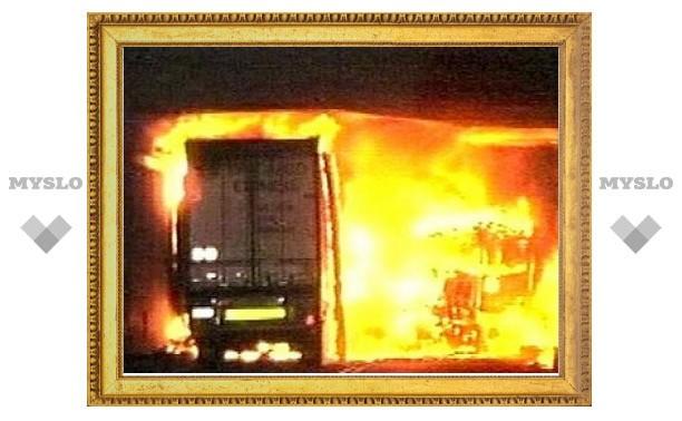 """На трассе """"Дон"""" под Тулой сгорел грузовик"""
