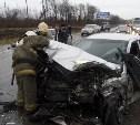 На Новомосковском шоссе в результате ДТП водитель оказался зажат в салоне автомобиля