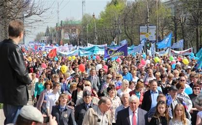 Более трех миллионов россиян вышли на первомайские демонстрации