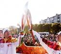 Эстафета олимпийского огня в Новомосковске: факел прокатился по детской железной дороге!