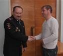 Глава УМВД наградил жителя Белева за содействие в задержании хулигана