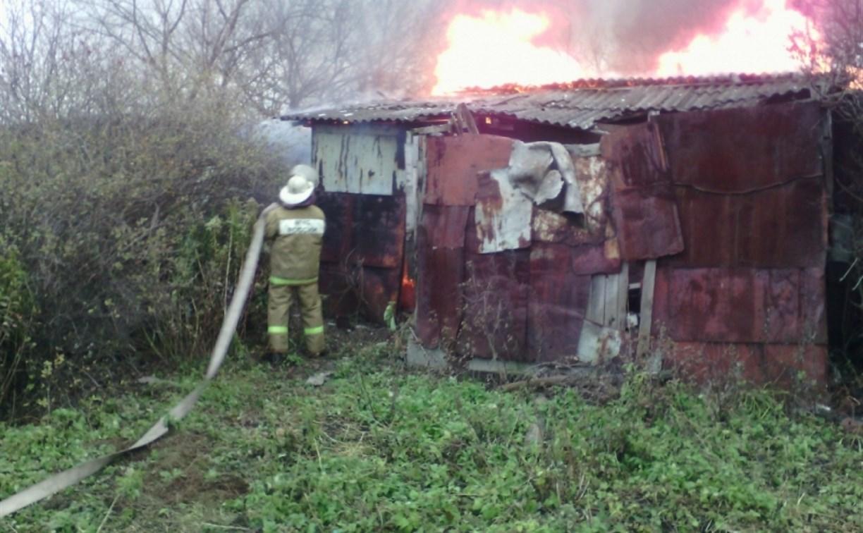В Волово дотла сгорел сарай