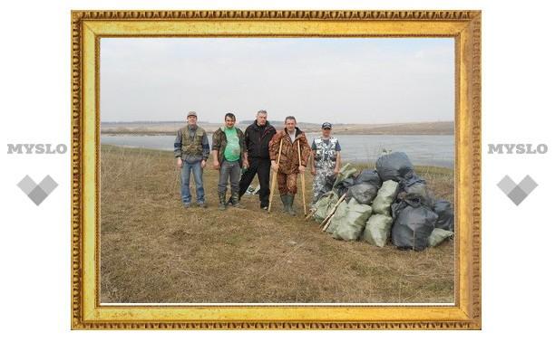 Тульские рыбаки расчистили берега Гамовского водохранилища