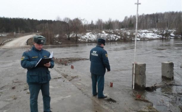 Уровень воды над подтопленными в Тульской области мостами уменьшается