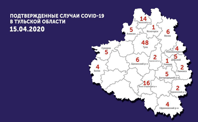 Подтвержденные случаи covid-19 в Тульской области: актуальная карта на 15 апреля