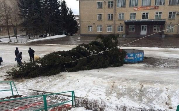 В Черни из-за ветра упала главная городская ёлка