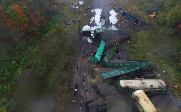 Крушение поезда в Тульской области: снимки с квадрокоптера