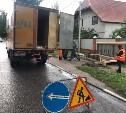В Туле на ул. Циолковского демонтируют поврежденную в результате ДТП остановку