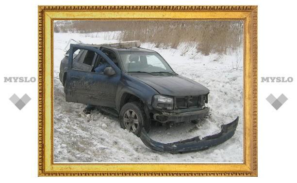 Под Тулой автомобиль улетел в кювет, трое пострадали