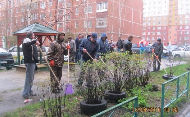 На субботник во дворе дома по ул. Кирова вышли 60 человек