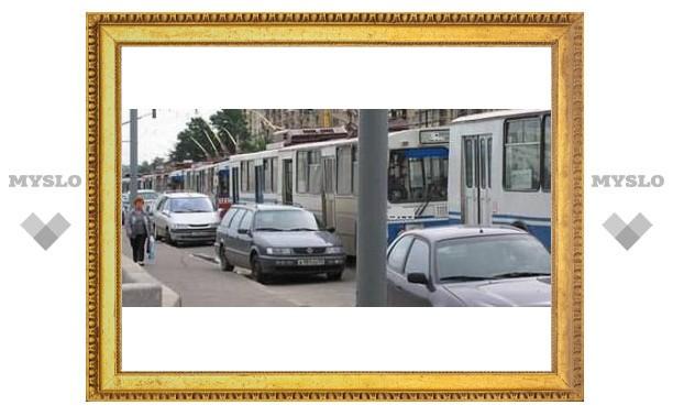 Тульские водители мешают трамваям