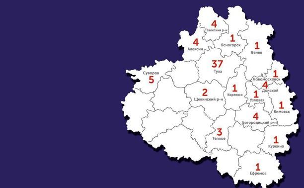 Подтвержденные случаи covid-19 в Тульской области: актуальная карта