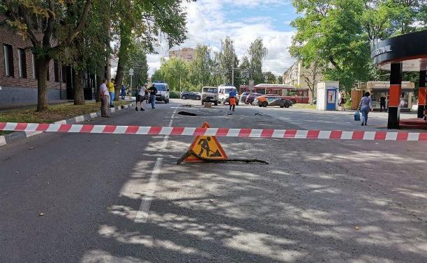 На ул. Революции в Туле ведутся восстановительные работы