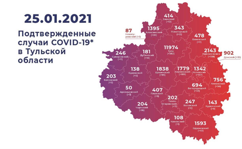 Где в Тульской области за неделю больше всего заражений ковидом: карта на 25 января