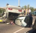 На Калужском шоссе в результате столкновения перевернулся ВАЗ-2109
