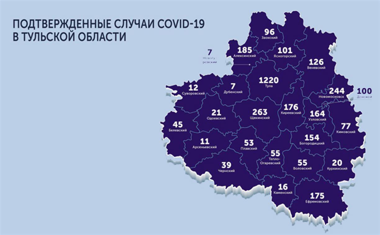 В каких городах Тульской области есть коронавирус: карта на 27 мая