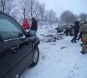 В Щекинском районе в результате ДТП загорелся автомобиль