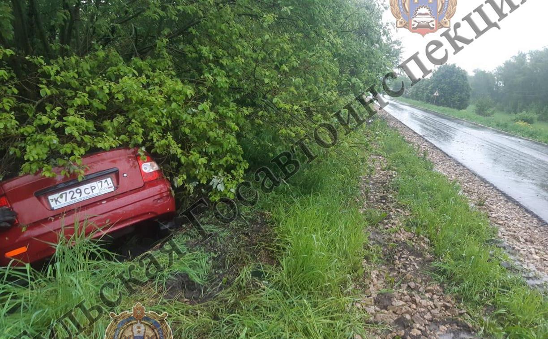 В Кимовском районе пьяный водитель на Lada Priora улетел в кювет и врезался в дерево