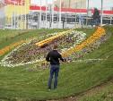 У цветочной композиции «Часы» в Туле уложили рулонный газон