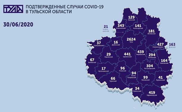 В каких городах Тульской области зарегистрирован коронавирус: карта на 30 июня