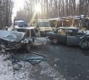 В Туле на Хомяковском шоссе в лобовом столкновении пострадал мужчина