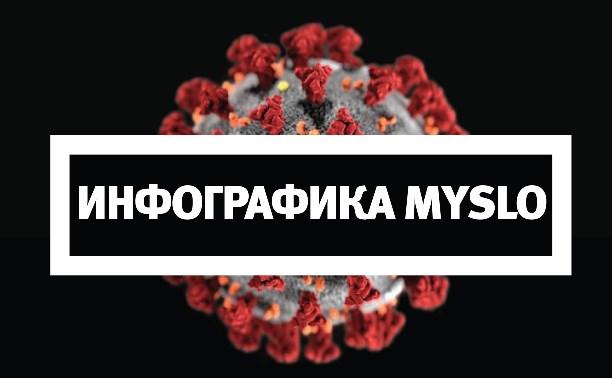 Инфографика Myslo: скорость распространения коронавируса в Тульской области