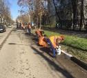 В Туле начали красить бордюры и ограждения на мостах и вдоль дорог