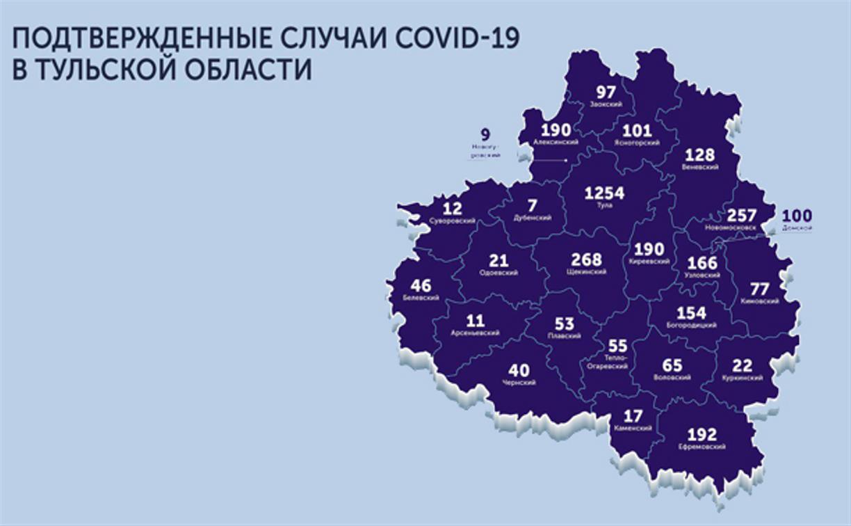 Самые зараженные коронавирусом города Тульской области: карта на 28 мая