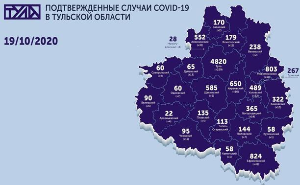 Самые зараженные коронавирусом города Тульской области: карта на 19 октября