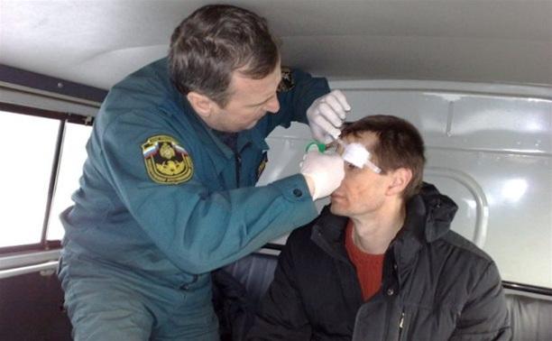 Тульские МЧС-ники спасли водителя иномарки, съехавшей в кювет