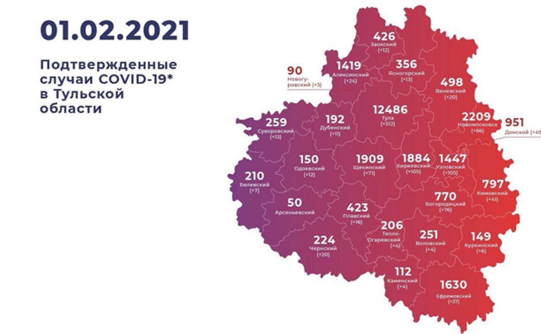 Где в Туле и области за неделю больше всего заражений коронавирусом: карта на 1 февраля