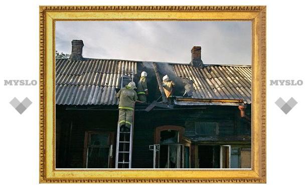 В Болохове полностью выгорел деревенский дом