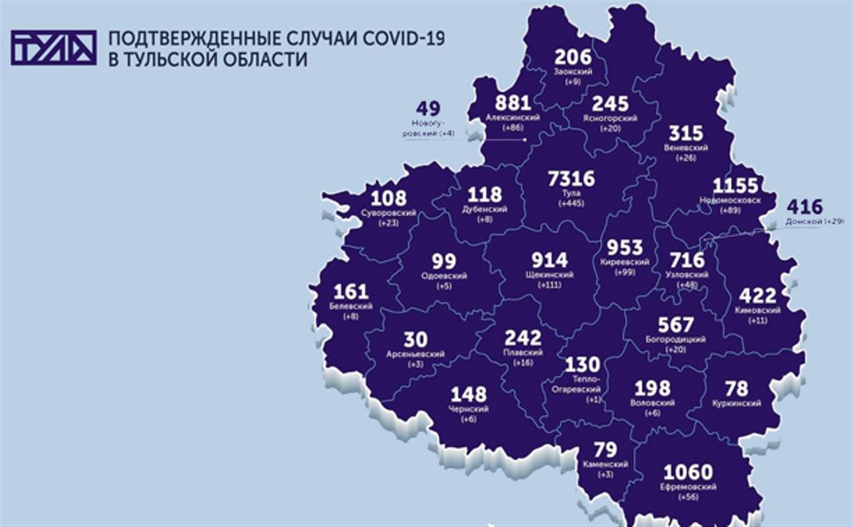 Названы самые зараженные коронавирусом города Тульской области