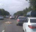На трассе «Крым» столкнулись три легковушки и фура