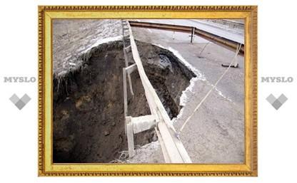 Разрушенную дорогу под Алексином могут перекрыть на полгода