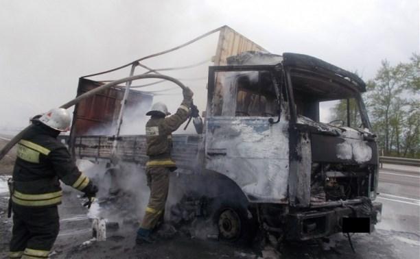 В Ефремовском районе сгорел грузовик