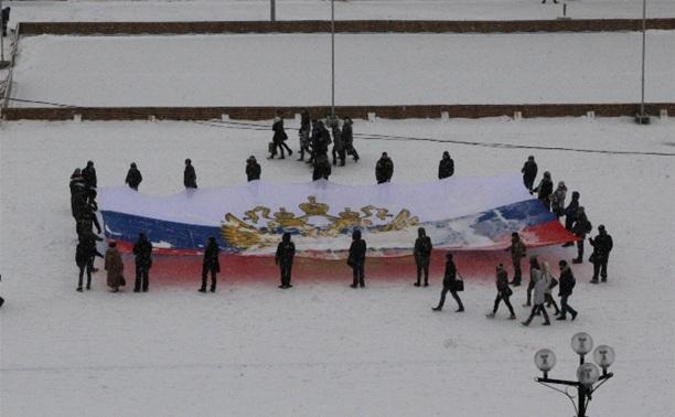 500 туляков выстроили число 20 на площади Ленина