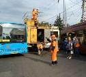 На проспекте Ленина в Туле огромная пробка: из-за обрыва линии встали троллейбусы