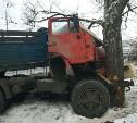 В Туле на Рязанке КамАЗ врезался в дерево
