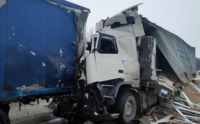 При столкновении грузовиков в Веневском районе пострадали два человека