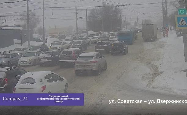 Из-за снегопада в Туле средняя скорость упала до 18 км/ч