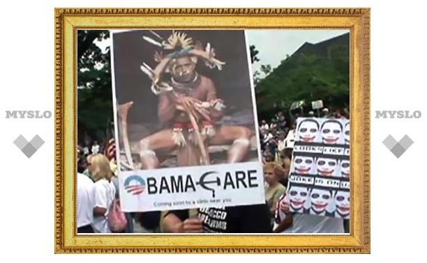Противники реформы Обамы изобразили его в виде африканского знахаря