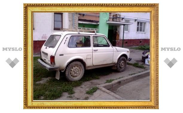 Тульские автохамы продолжают оставлять машины на газонах