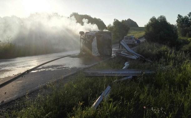 В Киреевском районе перевернулась и загорелась «Газель»